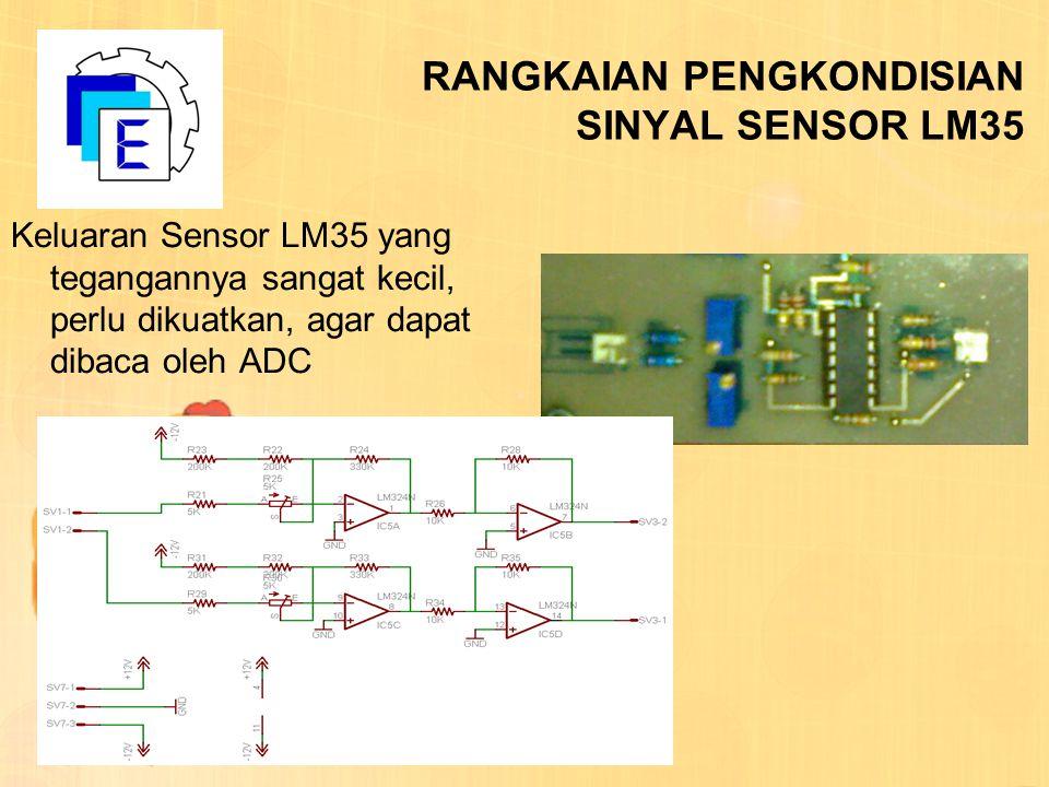 RANGKAIAN PENGKONDISIAN SINYAL SENSOR LM35 Keluaran Sensor LM35 yang tegangannya sangat kecil, perlu dikuatkan, agar dapat dibaca oleh ADC
