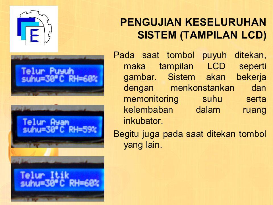 PENGUJIAN KESELURUHAN SISTEM (TAMPILAN LCD) Pada saat tombol puyuh ditekan, maka tampilan LCD seperti gambar. Sistem akan bekerja dengan menkonstankan