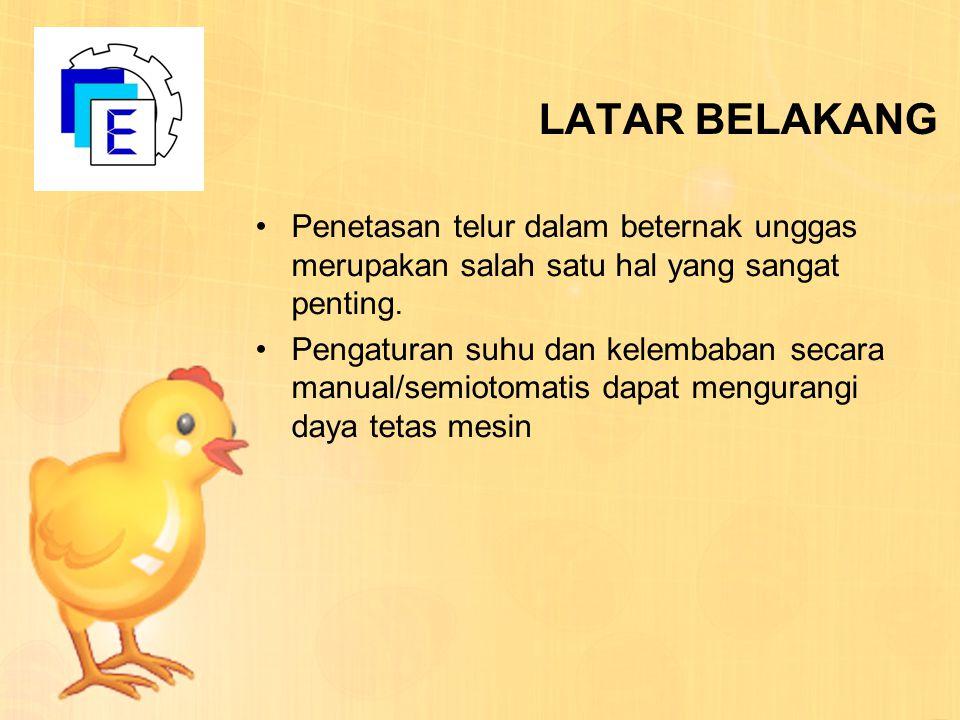 LATAR BELAKANG Penetasan telur dalam beternak unggas merupakan salah satu hal yang sangat penting. Pengaturan suhu dan kelembaban secara manual/semiot