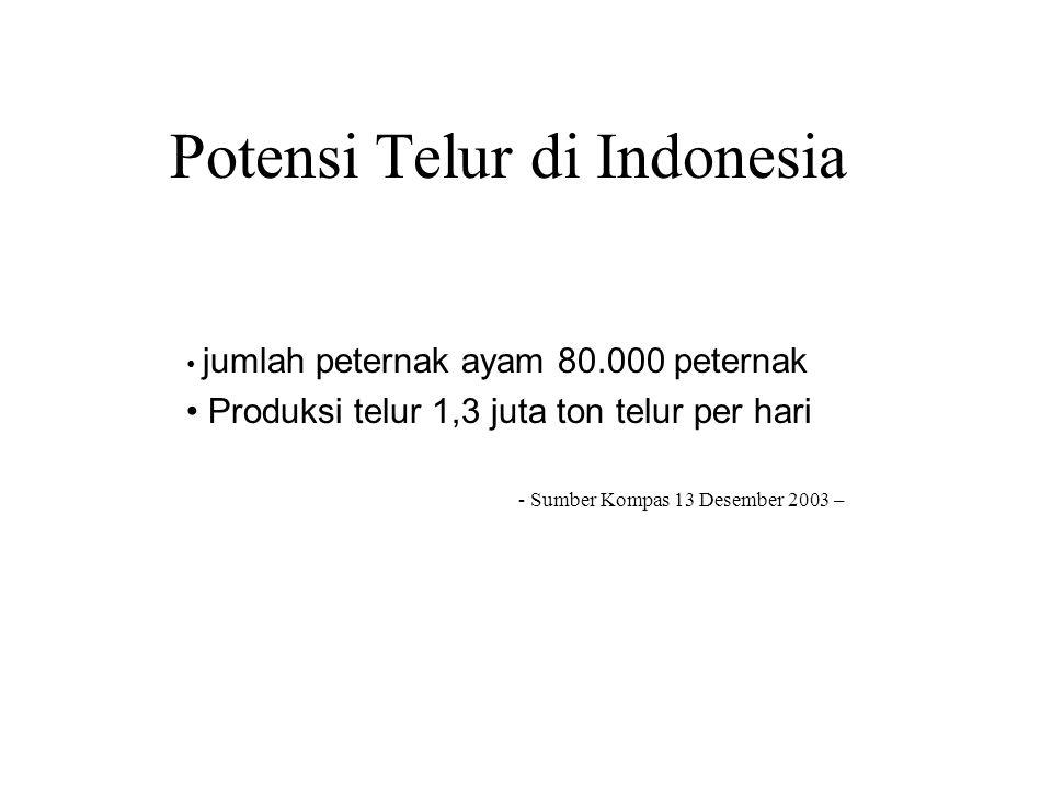 Potensi Telur di Indonesia jumlah peternak ayam 80.000 peternak Produksi telur 1,3 juta ton telur per hari - Sumber Kompas 13 Desember 2003 –