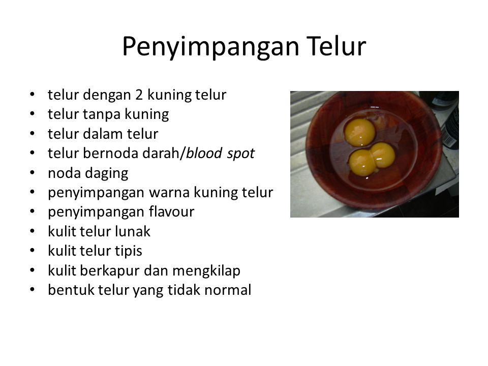 Penyimpangan Telur telur dengan 2 kuning telur telur tanpa kuning telur dalam telur telur bernoda darah/blood spot noda daging penyimpangan warna kuni