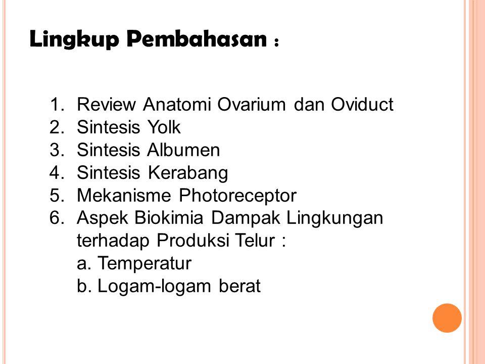 Lingkup Pembahasan : 1.Review Anatomi Ovarium dan Oviduct 2.Sintesis Yolk 3.Sintesis Albumen 4.Sintesis Kerabang 5.Mekanisme Photoreceptor 6.Aspek Bio