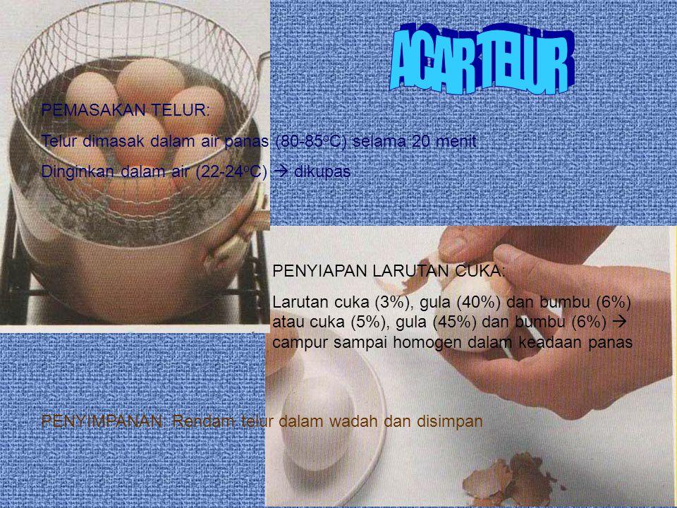 PEMASAKAN TELUR: Telur dimasak dalam air panas (80-85 o C) selama 20 menit Dinginkan dalam air (22-24 o C)  dikupas PENYIAPAN LARUTAN CUKA: Larutan c