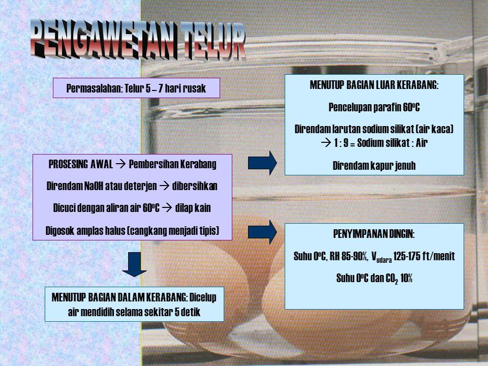 Permasalahan: Telur 5 – 7 hari rusak PROSESING AWAL  Pembersihan Kerabang Direndam NaOH atau deterjen  dibersihkan Dicuci dengan aliran air 60 o C 