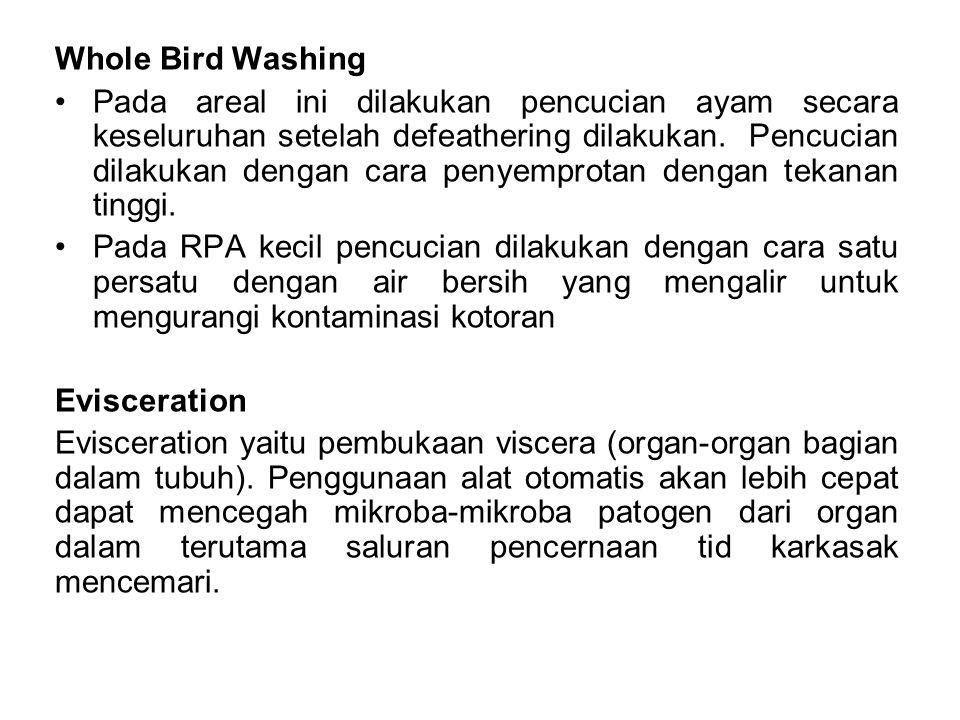Whole Bird Washing Pada areal ini dilakukan pencucian ayam secara keseluruhan setelah defeathering dilakukan.