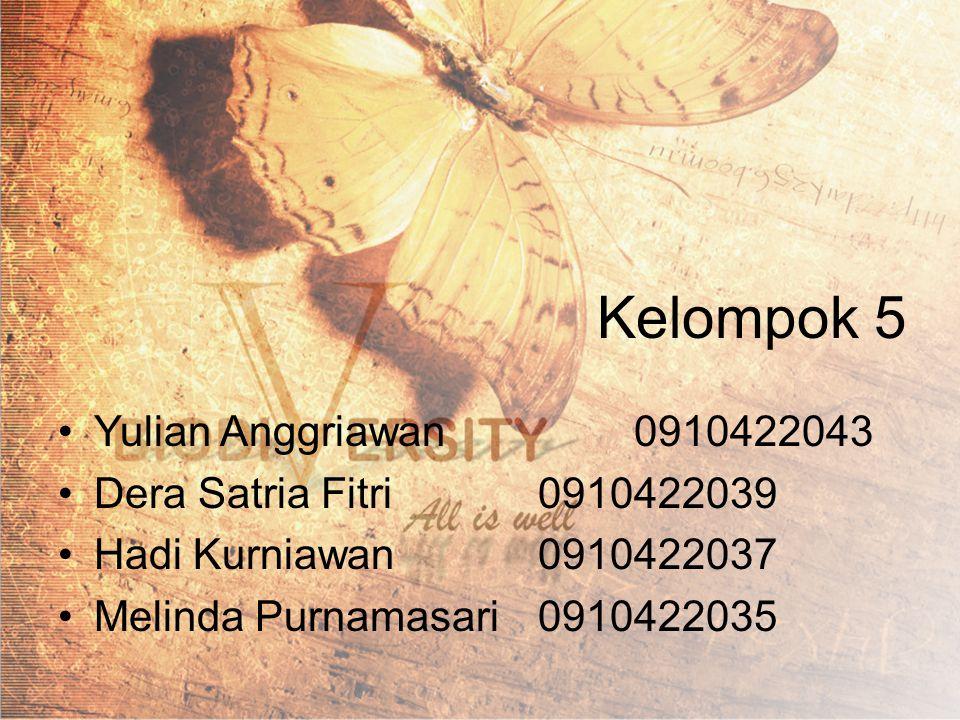 Kelompok 5 Yulian Anggriawan0910422043 Dera Satria Fitri0910422039 Hadi Kurniawan0910422037 Melinda Purnamasari0910422035