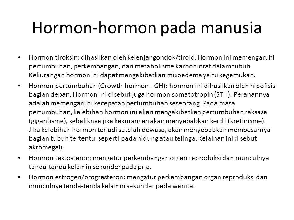 Hormon-hormon pada manusia Hormon tiroksin: dihasilkan oleh kelenjar gondok/tiroid. Hormon ini memengaruhi pertumbuhan, perkembangan, dan metabolisme