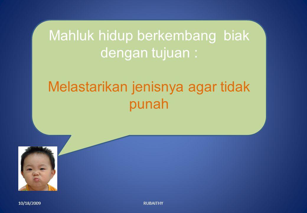 10/18/2009RUBAITHY Mahluk hidup berkembang biak dengan tujuan : Melastarikan jenisnya agar tidak punah