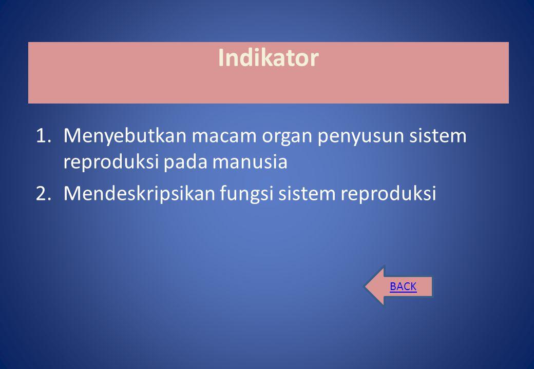 Kompetensi Dasar 1.2 Mendeskripsikan sistem reproduksi dan penyakit yang behubungan dengan sistem reproduksi pada manusia BACK