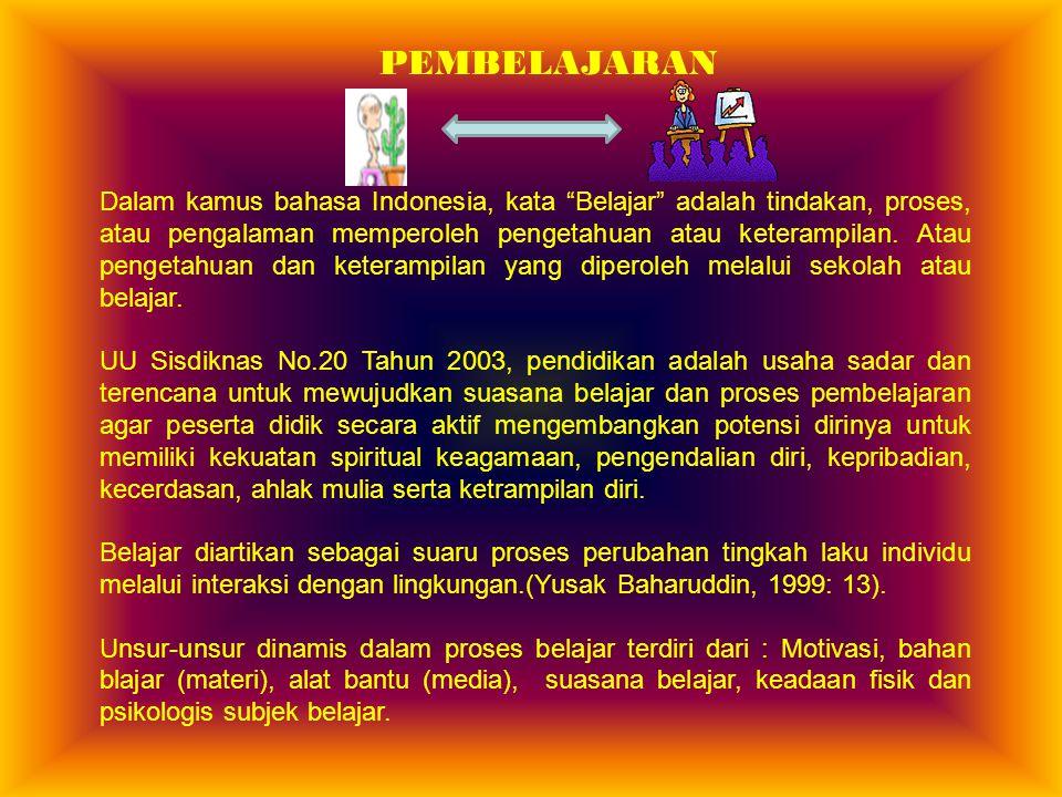 """PEMBELAJARAN Dalam kamus bahasa Indonesia, kata """"Belajar"""" adalah tindakan, proses, atau pengalaman memperoleh pengetahuan atau keterampilan. Atau peng"""