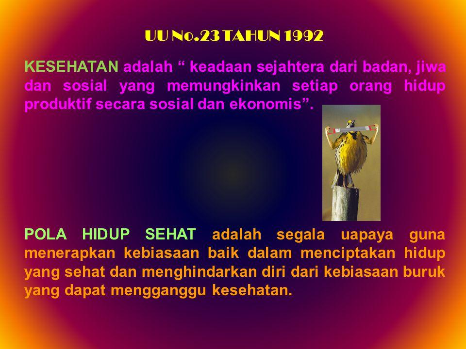 """UU No.23 TAHUN 1992 KESEHATAN adalah """" keadaan sejahtera dari badan, jiwa dan sosial yang memungkinkan setiap orang hidup produktif secara sosial dan"""