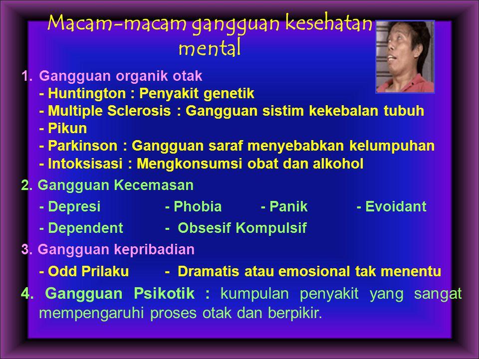 Macam-macam gangguan kesehatan mental 1.Gangguan organik otak - Huntington : Penyakit genetik - Multiple Sclerosis : Gangguan sistim kekebalan tubuh -