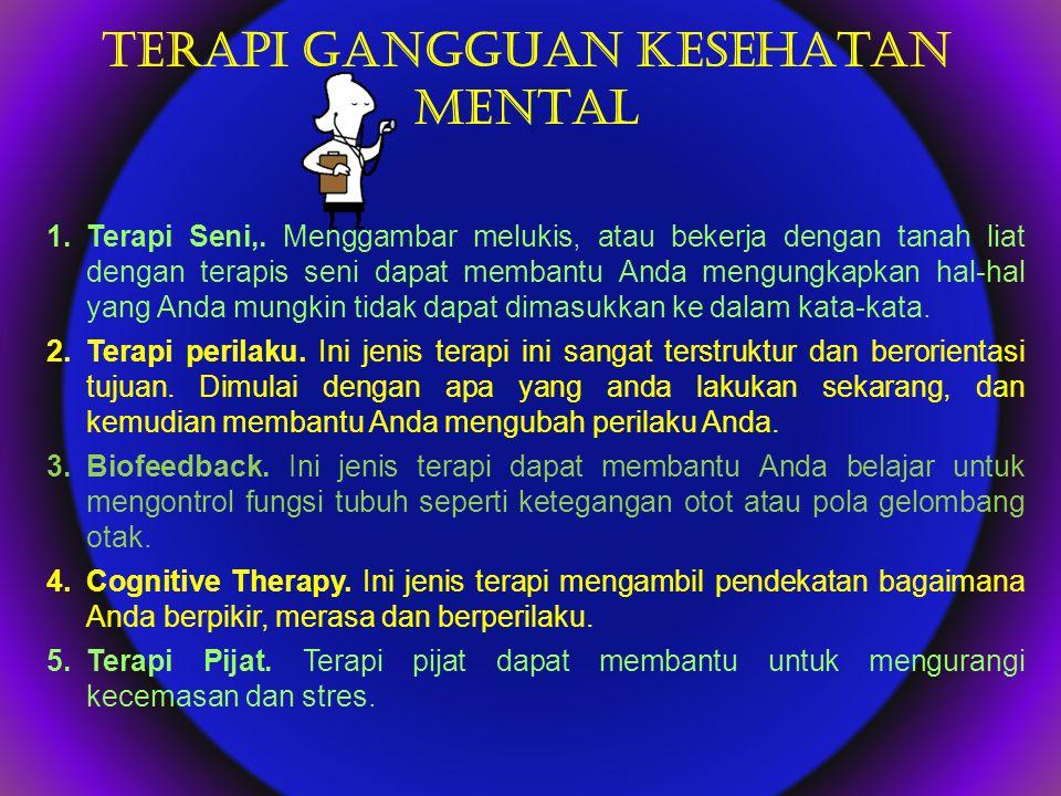 TERAPI GANGGUAN KESEHATAN MENTAL 6.Terapi Farmakologi (Obat).