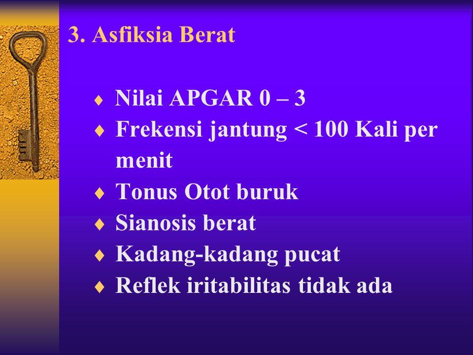 2. Asfiksia Sedang ( Mild Moderat )  Nilai APGAR 4 – 6  Frekwensi jantung > 100 kali per menit  Tonus otot kurang baik  Sianosis  Reflek iritabil