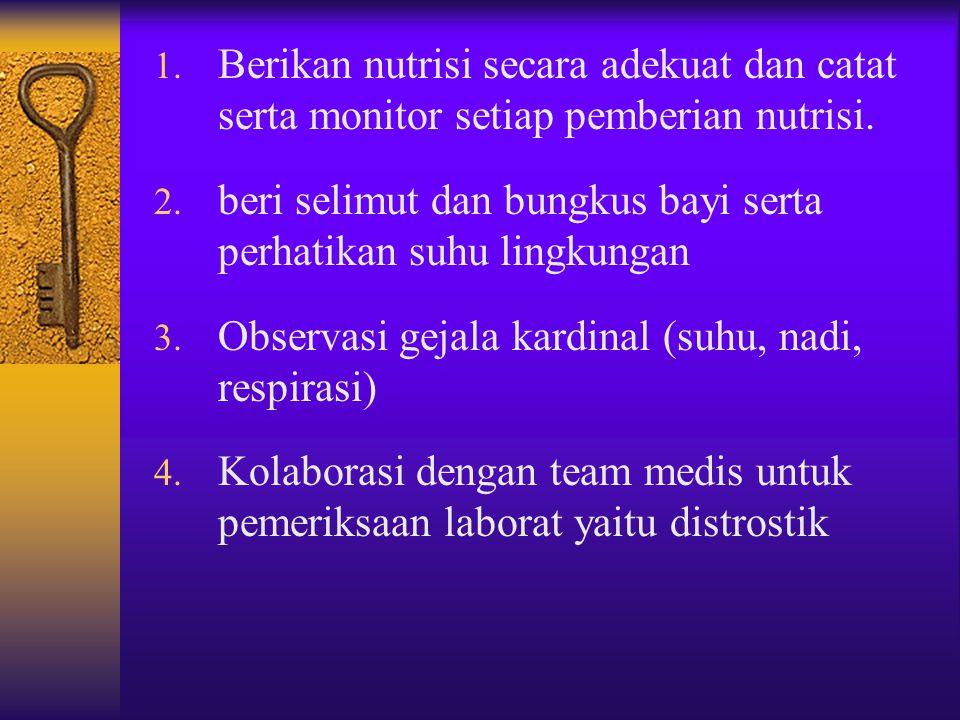 1. Lakukan observasi BAB dan BAK jumlah dan frekuensi serta konsistensi 2. Monitor turgor dan mukosa mulut. 3. Monitor intake dan out put. 4. Beri ASI
