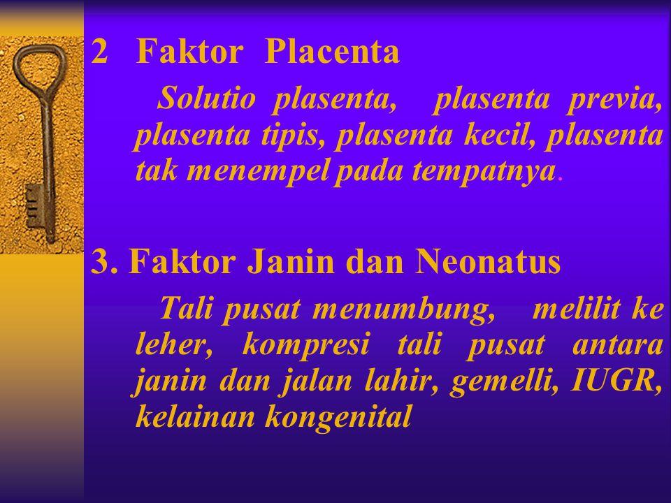 II. Etiologi dan Faktor Predisposisi Asfiksia 1 Faktor Ibu  Hipoksia ibu dpt terjadi karena hipoventilasi akibat pemberian analgetika atau anesthesi,