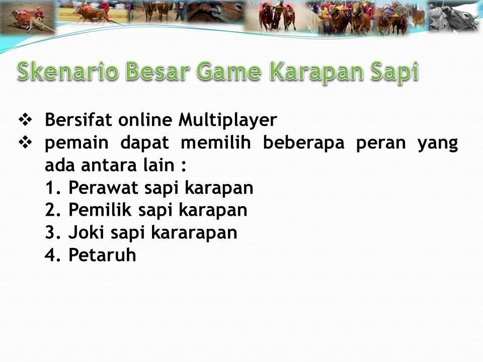  Bersifat online Multiplayer  pemain dapat memilih beberapa peran yang ada antara lain : 1.Perawat sapi karapan 2.Pemilik sapi karapan 3.Joki sapi kararapan 4.Petaruh