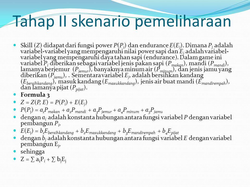 Tahap II skenario pemeliharaan Skill (Z) didapat dari fungsi power P(P i ) dan endurance E(E j ).