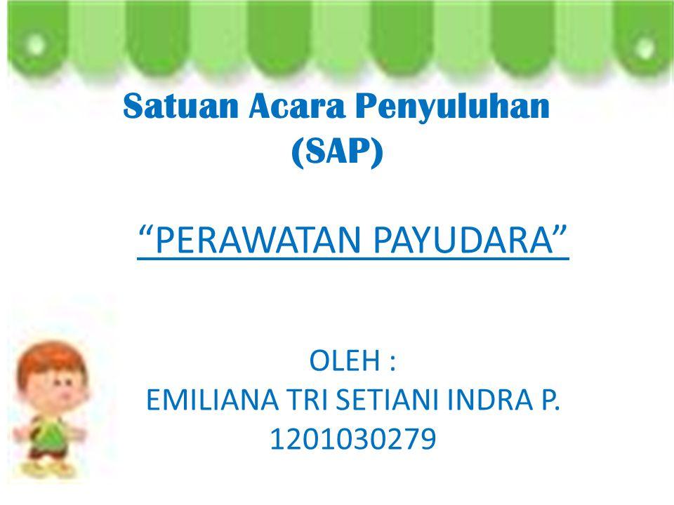 """Satuan Acara Penyuluhan (SAP) """"PERAWATAN PAYUDARA"""" OLEH : EMILIANA TRI SETIANI INDRA P. 1201030279"""