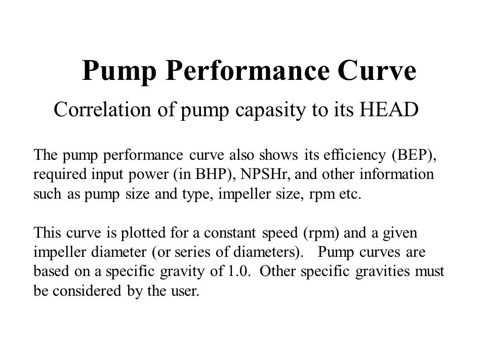 Pump Performance Curve The pump performance curve also shows its efficiency (BEP), required input power (in BHP), NPSHr, and other information such as