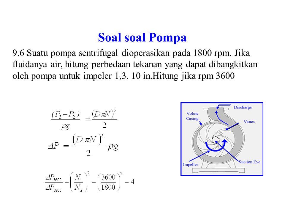 Soal soal Pompa 9.6 Dari data flow rate dan dan head suatu kurva performa pompa hitung efiensi.