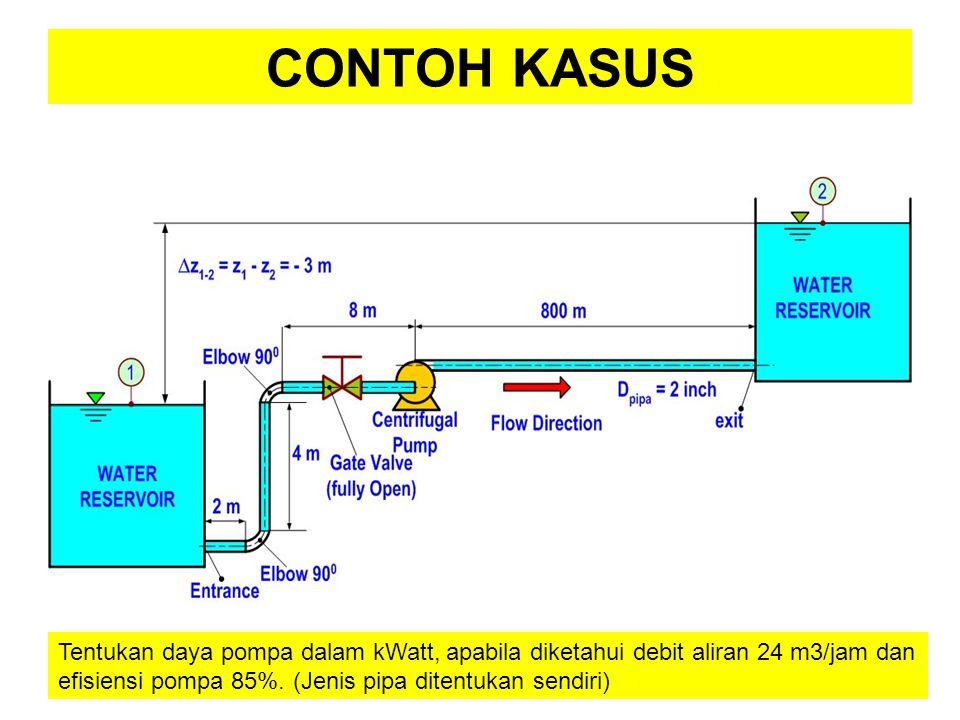 Tentukan daya pompa dalam kWatt, apabila diketahui debit aliran 24 m3/jam dan efisiensi pompa 85%. (Jenis pipa ditentukan sendiri)