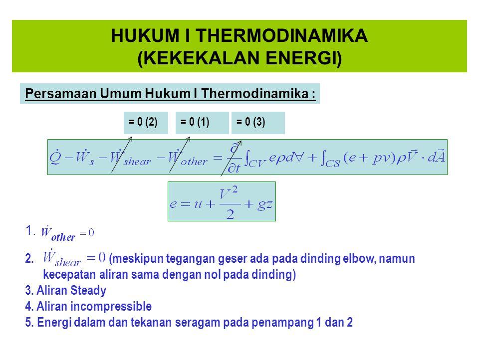 HUKUM I THERMODINAMIKA (KEKEKALAN ENERGI) Persamaan Umum Hukum I Thermodinamika : 2. (meskipun tegangan geser ada pada dinding elbow, namun kecepatan