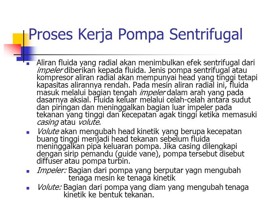 Proses Kerja Pompa Sentrifugal Aliran fluida yang radial akan menimbulkan efek sentrifugal dari impeler diberikan kepada fluida. Jenis pompa sentrifug
