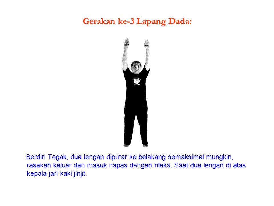 Gerakan ke-3 Lapang Dada: Berdiri Tegak, dua lengan diputar ke belakang semaksimal mungkin, rasakan keluar dan masuk napas dengan rileks. Saat dua len