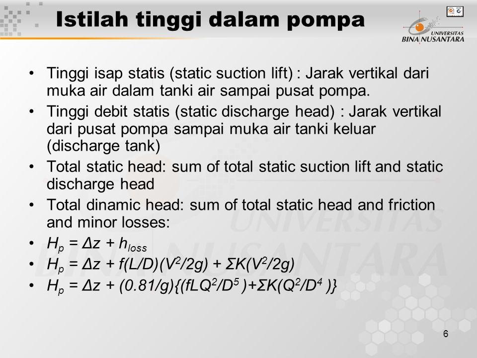 6 Istilah tinggi dalam pompa Tinggi isap statis (static suction lift) : Jarak vertikal dari muka air dalam tanki air sampai pusat pompa.