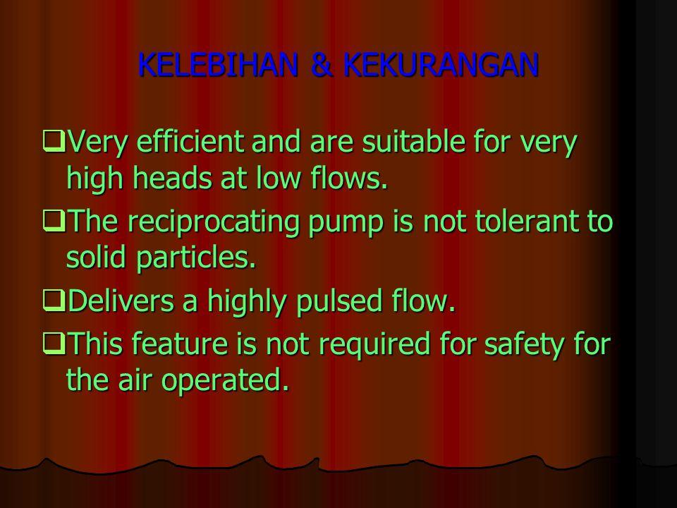 KELEBIHAN & KEKURANGAN  Very efficient and are suitable for very high heads at low flows.