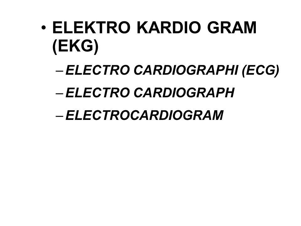 ELEKTRO KARDIO GRAM (EKG) –ELECTRO CARDIOGRAPHI (ECG) –ELECTRO CARDIOGRAPH –ELECTROCARDIOGRAM