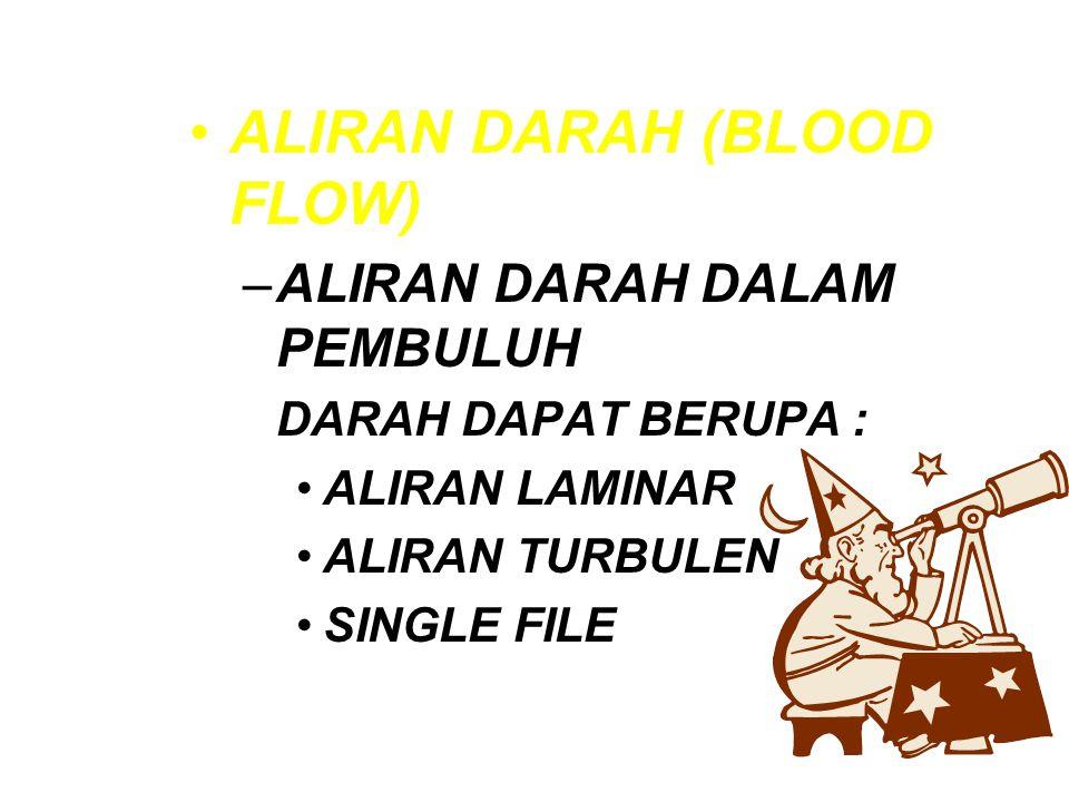 ALIRAN DARAH (BLOOD FLOW) –ALIRAN DARAH DALAM PEMBULUH DARAH DAPAT BERUPA : ALIRAN LAMINAR ALIRAN TURBULEN SINGLE FILE