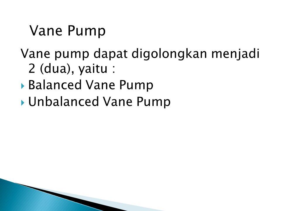 Piston ( plunger ) pump Piston pump digolongkan menjadi 2 ( dua ), yaitu :  Radial Piston Pump  Axial Piston Pump