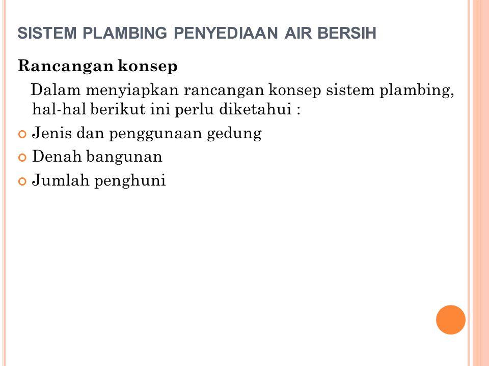 SISTEM PLAMBING PENYEDIAAN AIR BERSIH Rancangan konsep Dalam menyiapkan rancangan konsep sistem plambing, hal-hal berikut ini perlu diketahui : Jenis