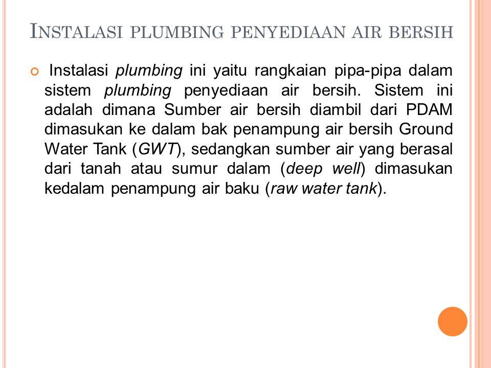 I NSTALASI PLUMBING PENYEDIAAN AIR BERSIH Instalasi plumbing ini yaitu rangkaian pipa-pipa dalam sistem plumbing penyediaan air bersih. Sistem ini ada