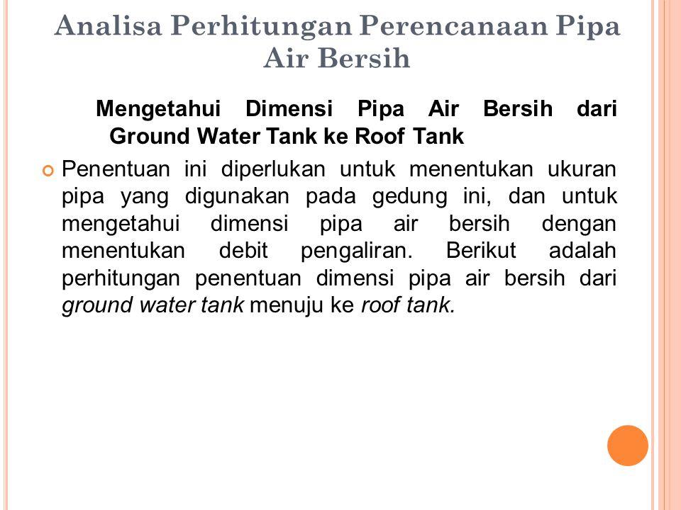 Analisa Perhitungan Perencanaan Pipa Air Bersih Mengetahui Dimensi Pipa Air Bersih dari Ground Water Tank ke Roof Tank Penentuan ini diperlukan untuk menentukan ukuran pipa yang digunakan pada gedung ini, dan untuk mengetahui dimensi pipa air bersih dengan menentukan debit pengaliran.