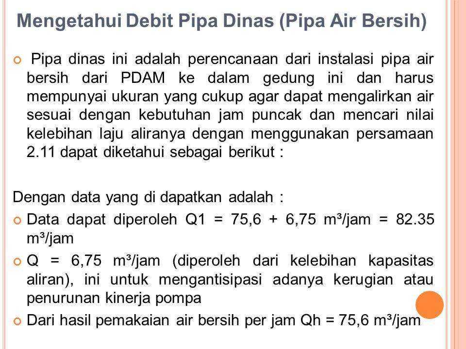 Mengetahui Debit Pipa Dinas (Pipa Air Bersih) Pipa dinas ini adalah perencanaan dari instalasi pipa air bersih dari PDAM ke dalam gedung ini dan harus mempunyai ukuran yang cukup agar dapat mengalirkan air sesuai dengan kebutuhan jam puncak dan mencari nilai kelebihan laju aliranya dengan menggunakan persamaan 2.11 dapat diketahui sebagai berikut : Dengan data yang di dapatkan adalah : Data dapat diperoleh Q1 = 75,6 + 6,75 m³/jam = 82.35 m³/jam Q = 6,75 m³/jam (diperoleh dari kelebihan kapasitas aliran), ini untuk mengantisipasi adanya kerugian atau penurunan kinerja pompa Dari hasil pemakaian air bersih per jam Qh = 75,6 m³/jam