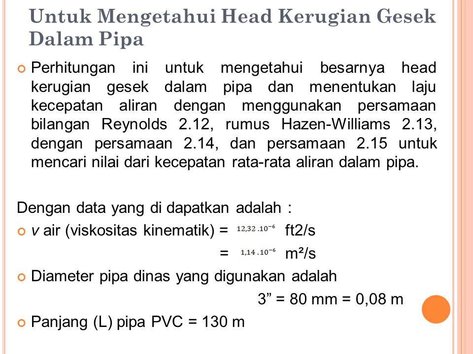 Untuk Mengetahui Head Kerugian Gesek Dalam Pipa Perhitungan ini untuk mengetahui besarnya head kerugian gesek dalam pipa dan menentukan laju kecepatan