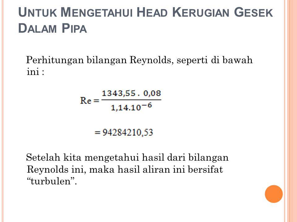 U NTUK M ENGETAHUI H EAD K ERUGIAN G ESEK D ALAM P IPA Perhitungan bilangan Reynolds, seperti di bawah ini : Setelah kita mengetahui hasil dari bilang