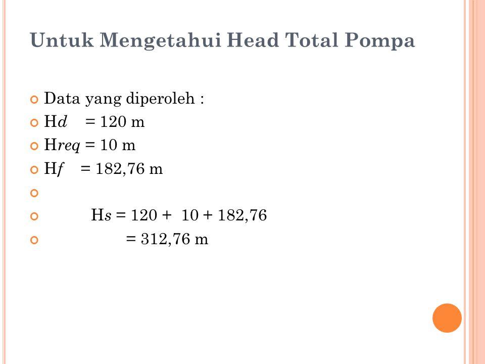 Untuk Mengetahui Head Total Pompa Data yang diperoleh : H d = 120 m H req = 10 m H f = 182,76 m H s = 120 + 10 + 182,76 = 312,76 m