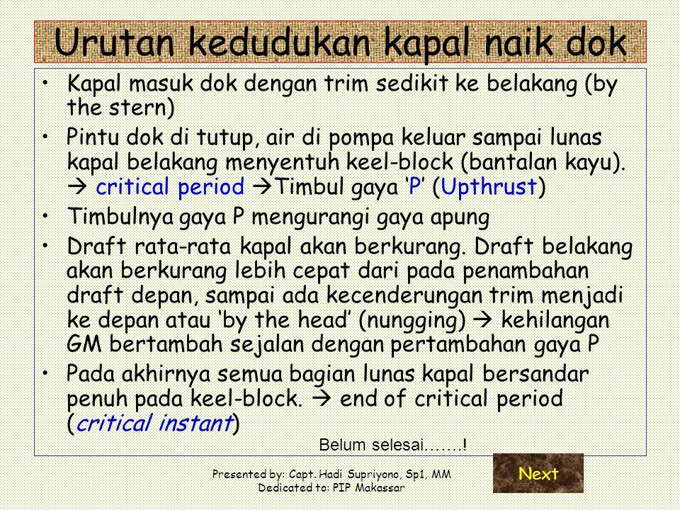 Presented by: Capt. Hadi Supriyono, Sp1, MM Dedicated to: PIP Makassar Urutan kedudukan kapal naik dok Kapal masuk dok dengan trim sedikit ke belakang