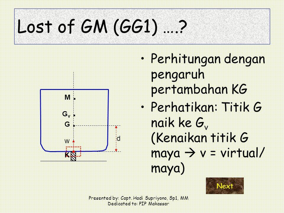 Presented by: Capt. Hadi Supriyono, Sp1, MM Dedicated to: PIP Makassar Perhitungan dengan pengaruh pertambahan KG Perhatikan: Titik G naik ke G v (Ken