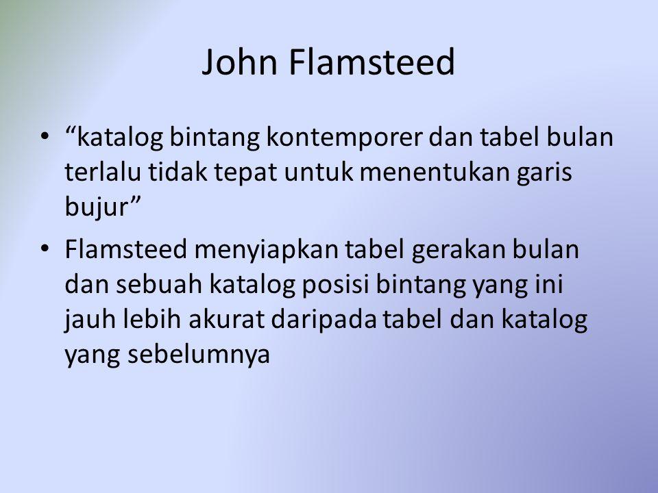 John Flamsteed katalog bintang kontemporer dan tabel bulan terlalu tidak tepat untuk menentukan garis bujur Flamsteed menyiapkan tabel gerakan bulan dan sebuah katalog posisi bintang yang ini jauh lebih akurat daripada tabel dan katalog yang sebelumnya