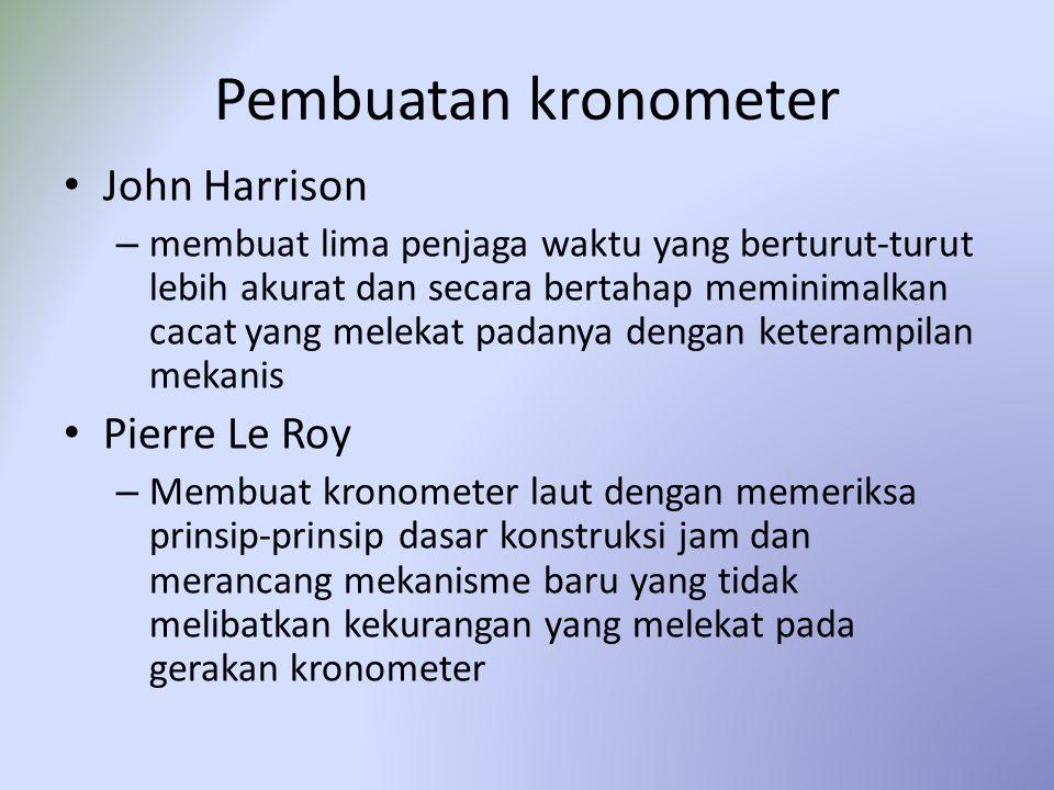 Pembuatan kronometer John Harrison – membuat lima penjaga waktu yang berturut-turut lebih akurat dan secara bertahap meminimalkan cacat yang melekat p