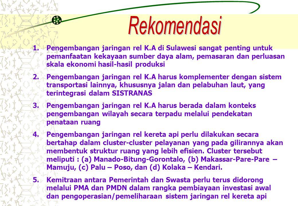 1.Pengembangan jaringan rel K.A di Sulawesi sangat penting untuk pemanfaatan kekayaan sumber daya alam, pemasaran dan perluasan skala ekonomi hasil-ha