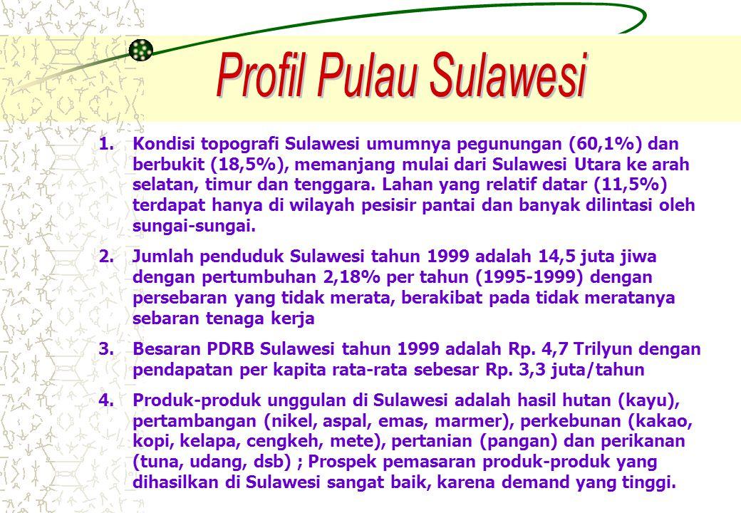 1.Kondisi topografi Sulawesi umumnya pegunungan (60,1%) dan berbukit (18,5%), memanjang mulai dari Sulawesi Utara ke arah selatan, timur dan tenggara.
