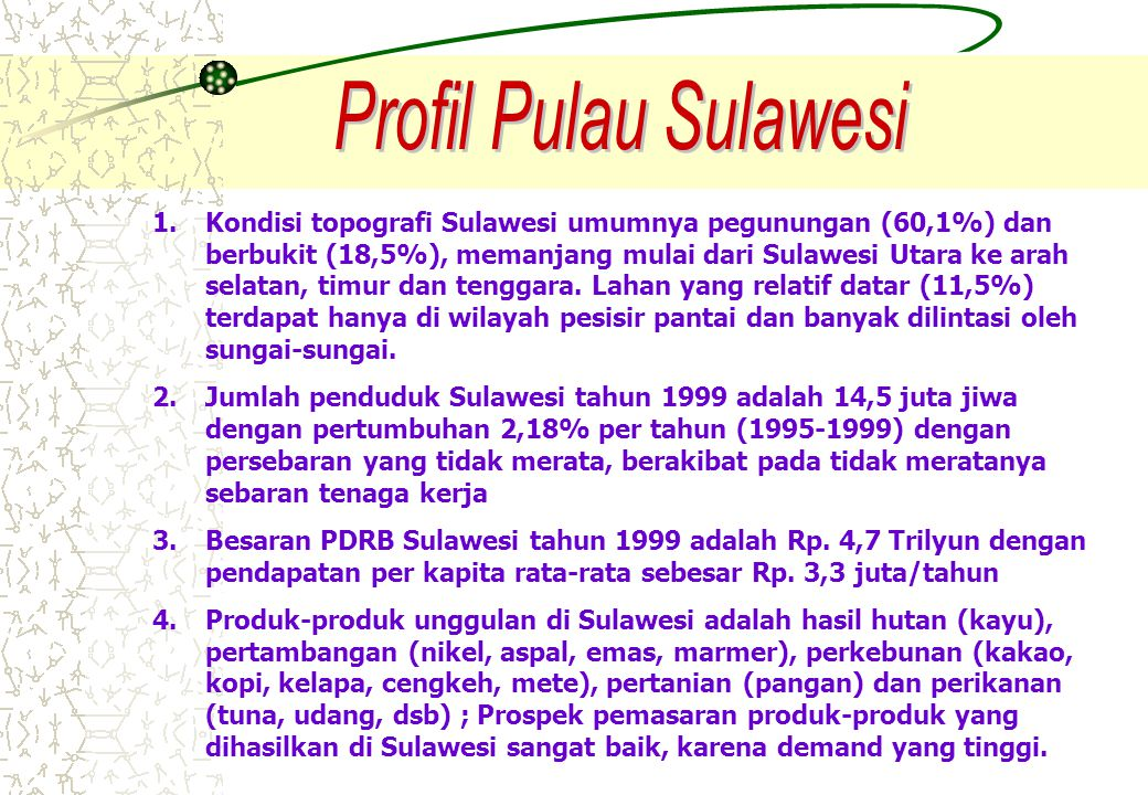 MAKASSAR KENDARI KOLAKA WATAMPONE PARE PALOPO TAKALAR BULUKUMBA POSO PALU GORONTALO KAPET MANADO / BITUNG JAKARTA/ SURABAYA /INTERNASIONAL KAPET BUKARI KAPET PARE-PARE KESR BIMP-EAGA Nasional/ PASAR KTI KESR AIDA Kalsel dan Kaltim INTERNASIONAL /NASIONAL Nasional (Kalimantan) SKEMATIK JARINGAN REL KERETA API WILAYAH PULAU SULAWESI Intensitas aliran penumpang dan barang tinggi Intensitas aliran penumpang dan barang sedang Orientasi Pergerakan Rencana s/d Thn 2030 Rencana s/d Thn 2050 Keterangan : Rencana s/d Thn 2020