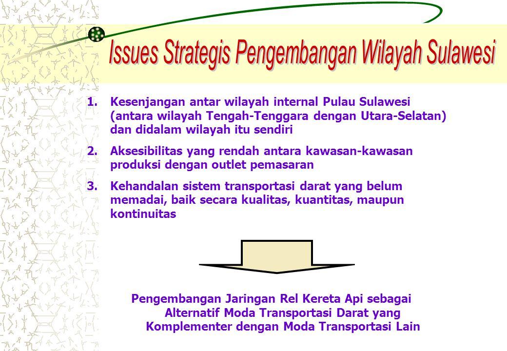 1.Kesenjangan antar wilayah internal Pulau Sulawesi (antara wilayah Tengah-Tenggara dengan Utara-Selatan) dan didalam wilayah itu sendiri 2.Aksesibili