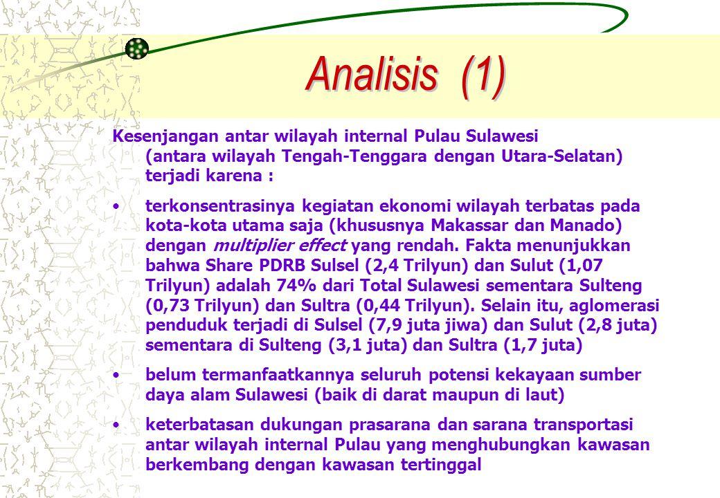 Kesenjangan antar wilayah internal Pulau Sulawesi (antara wilayah Tengah-Tenggara dengan Utara-Selatan) terjadi karena : terkonsentrasinya kegiatan ek